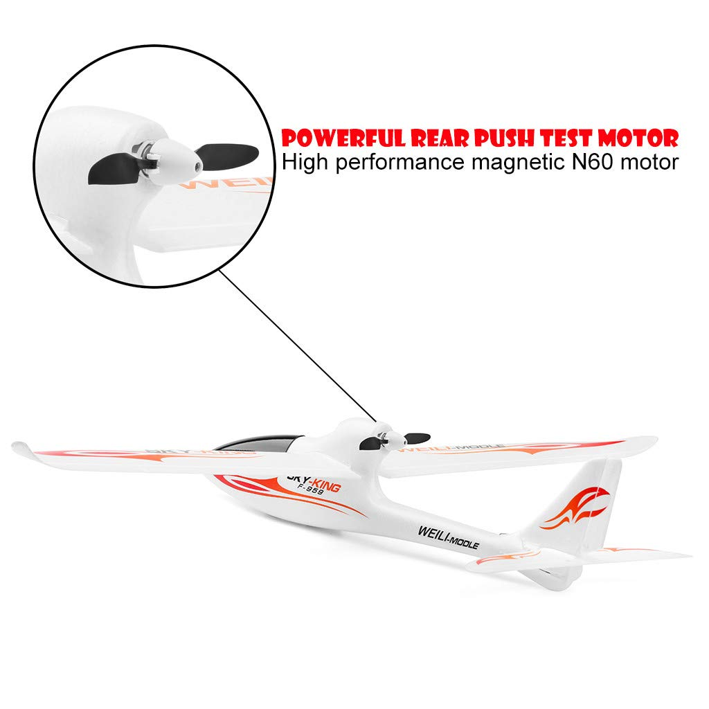 Hisoul F959 RC Airplane 2.4G 3CH Radio Control Remote Control Backward Pusher Glider RTF for Beginner Best Gift - Shipped from US (♥ White) by Hisoul (Image #4)