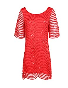 HaoDuoYi Womens Sparkle Sequin Lace Hollow Out Half Sleeves Mini 1920's Party Dress