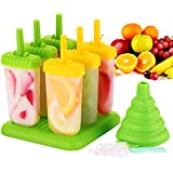 Omorc Popsicle Molds Set - BPA Free & FDA Certified & Food Safe - 6 Pack Reusable Ice Pop Molds Makers Drip-Guard Handle Easy-Release Ice Cube Tray Molds with Folding Funnel and Cleaning Brush
