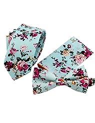 Mantieqingway Men's Polyester Floral Narrow Neckties Pocket Square Bowtie 1 Set 013