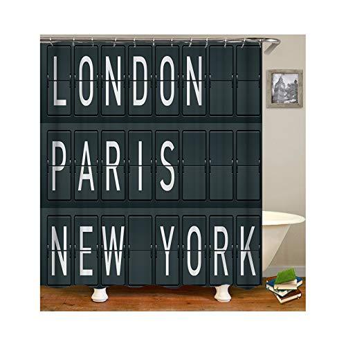 Aokarry Polyester Bathroom Mildew Resistant Shower Curtain Words Printing London Paris New York Black 66x80 ''