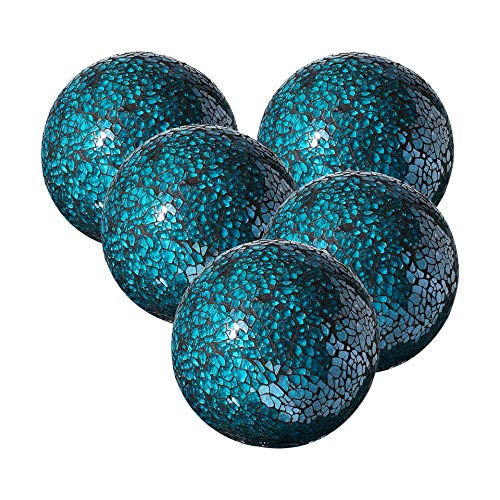 Decorative Balls Glass (Whole Housewares Decorative Balls Set of 5 Glass Mosaic Sphere Dia 3