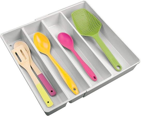 Organizer per posate e altri utensili estraibile Trasparente mDesign Set da 2 Porta posate con 4 scomparti Portaposate per cassetti per diversi utensili da cucina in plastica