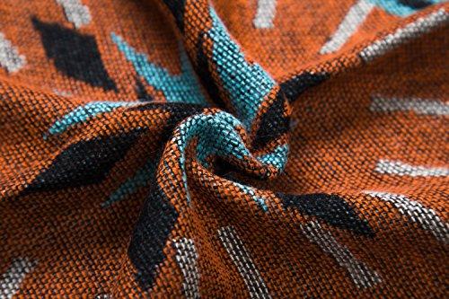 Urban CoCo Women's Printed Tassel Open front Poncho Cape Cardigan Wrap Shawl (Orange-series 5) by Urban CoCo (Image #5)