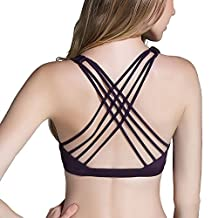 Camellias Strappy Back Sports Bra Criss Cross Top Removable Padded Bralette Yoga