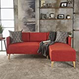 Andresen Mid Century Modern Muted Orange Fabric Chaise Sectional For Sale