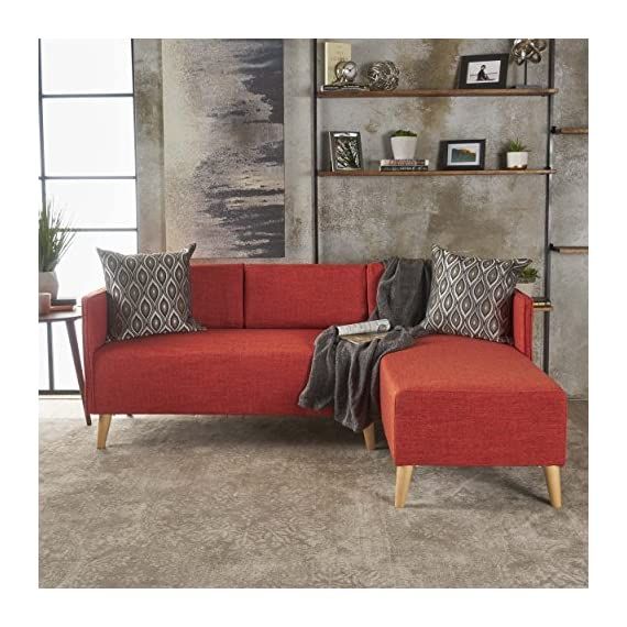 Christopher Knight Home Augustus Mid-Century Modern Fabric Chaise Sectional, Muted Orange / Natural - Includes: one (1) chaise sectional and one (1) Loveseat sectional Chaise dimensions: 51. 00 inches deep x 26. 00 inches wide x 31. 00 inches high Seat Height: 18. 00 inches Loveseat dimensions: 26. 00 inches deep x 51. 00 inches wide x 31. 00 inches high Seat Height: 18. 00 inches Material: fabric, Fabric composition: 100% polyester - sofas-couches, living-room-furniture, living-room - 51kRxx%2BCGvL. SS570  -