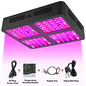 Led Grow Light, Reflector-Series1200W LED Grow Light Full Spectrum for Indoor Plants Veg and Flower with Veg and Bloom Double Switch