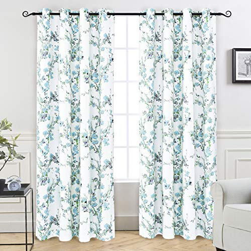 DriftAway Blossom Abstract Floral Botanic Thermal Room Darkening Blackout Grommet Lined Window Curtains for Living Room Bedroom Kitchen 2 Layer Set of 2 Panels Each Size 52 Inch by 84 Inch Blue