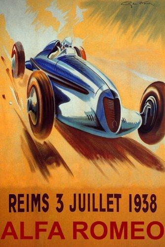 (WONDERFULITEMS Reims 1938 France CAR Race ALFA Romeo Speed Racing 20