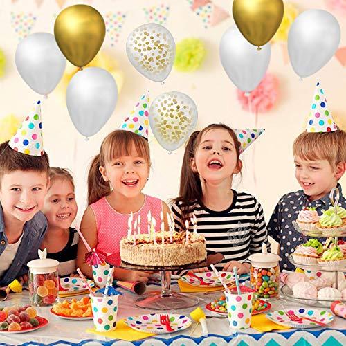 MIMIVIVA Luftballons Gold Set, 60 Stück Konfetti Latex Luftballons, Helium Weiß aud Gold Balloons für Baby Geburtstag Hochzeit Valentinstag Party Deko