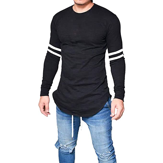 ebecebe9d14 Amazon.com  Clearance! Mens Casual Slim Fit Crewneck T-Shirts Striped Long  Sleeve Baseball Shirts Jersey Blouse Tops  Clothing