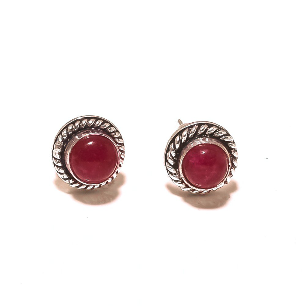 Handmade Art Jewelry Fantasy Red Dyed Ruby Sterling Silver Plated 4 grams Stud// Earring 10 mm