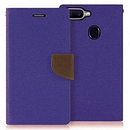 info for d4f9c 17d6f MAJANSY Canvas Leather Wallet Flip Cover for Oppo F9 Pro (Navy Blue)