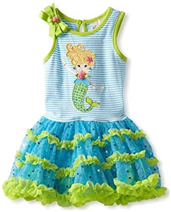 Rare Editions Baby Girls Newborn Tutu Dress with Mermaid Applique, Turquoise, 6M