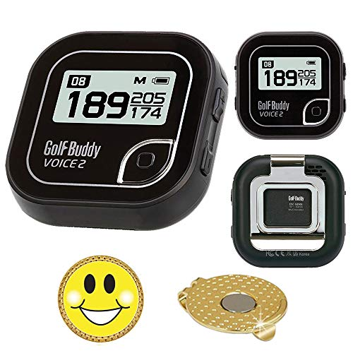 AMBA7 GolfBuddy Voice 2 Golf GPS/Rangefinder Bundle with Magnetic Hat Clip Ball Marker (Smiley Face) ()