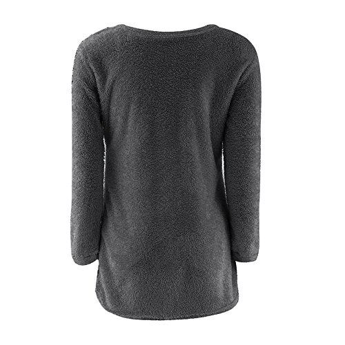Blouse Rond Col d'hiver Pull lgant Manches Longues Warmer Rovinci Solides Longues Gris1 Manches Femmes Les Pull Casual xqR0108Zw