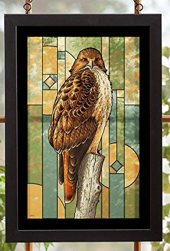Red-tailed Hawk Stained Glass Art by John S Wilson