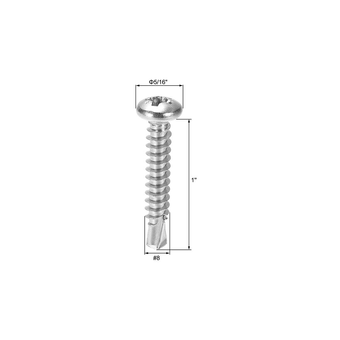 uxcell #8 x 1 Self Tapping Screws 410 Stainless Steel Phillips Pan Head Self Drilling Screws 60pcs