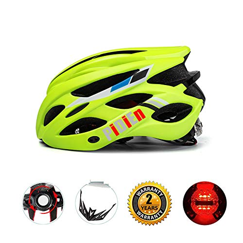 pidien Bike Helmet,Ultra Lightweight Adult Cycling Helmet with Adjustable Visor,CPSC Certified Black/Green Cycle Helmet with Tail Light for Specialized Men Women Safety Protection
