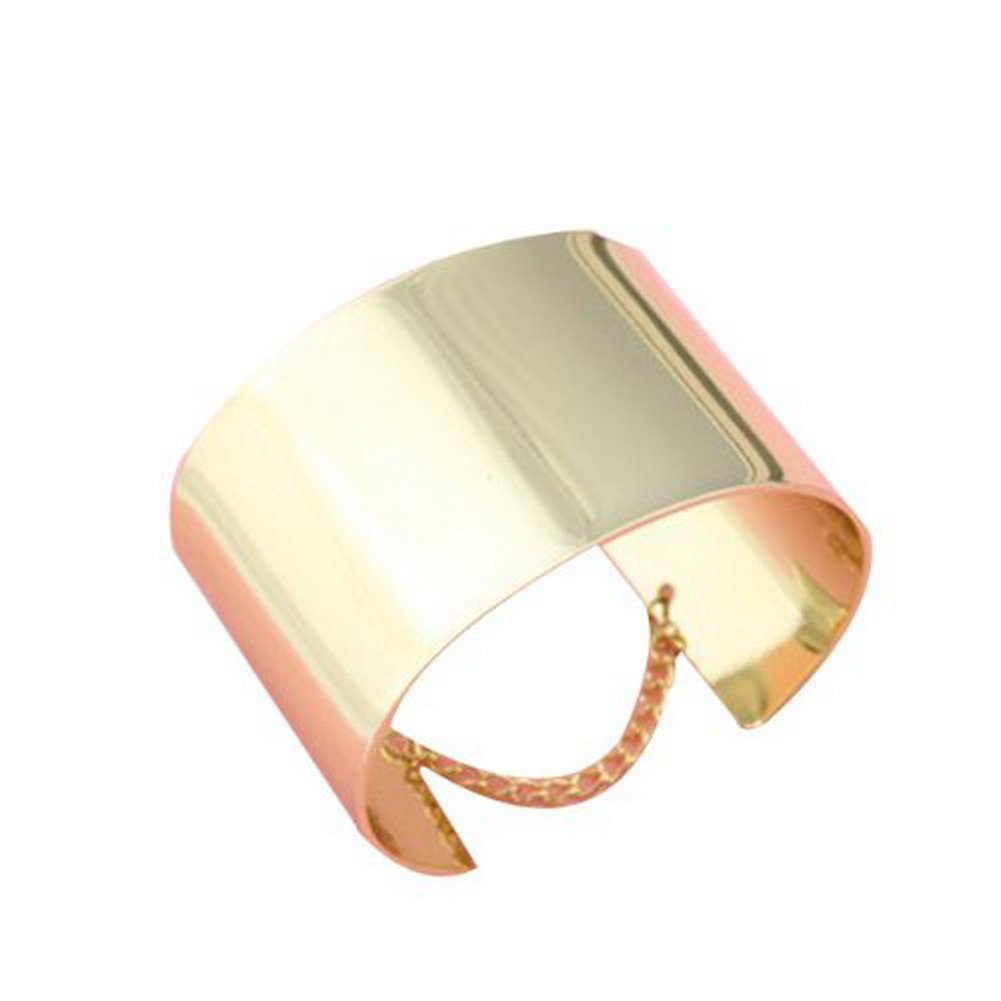 A Pair of Chic Golden Punk Style Wide Cuff Wristband Bracelet