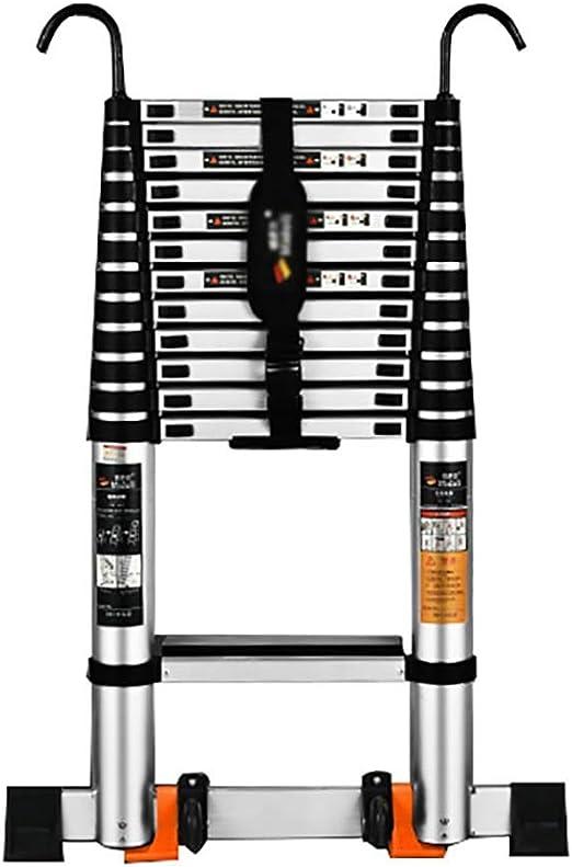 WGOOGA Escalera Extensible telescópica 3.8M / 5.9M con Gancho y Rueda Escalera de extensión de Aluminio Multiuso for escaleras de peldaños industriales Loft Carga 150KG (Size : 5.9m/19.3ft): Amazon.es: Hogar