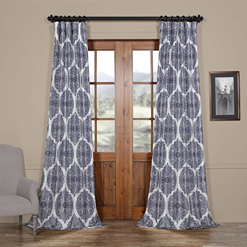 Half Price Drapes Ptpch-170805A-108 Royal Printed Faux Silk Taffeta Blackout Curtain, 50 x 108,  ...