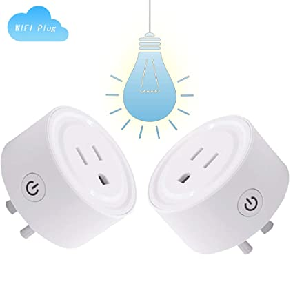 [2PC] WiFi Smart plug,Work with Alexa and Google Home & IFTTT,No Hub  Required,Smart Outlet Mini Socket Alexa and Google Assistant smartthings  smart