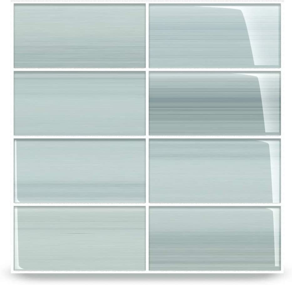 Vesper Light Blue Off White Glass Subway Tile For Kitchen Backsplash Or Bathroom From Bodesi Color Sample Amazon Com