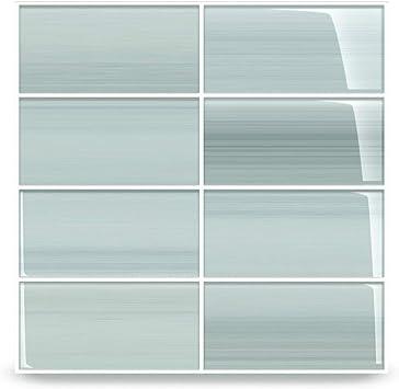 Vesper Light Blue Off White Glass Subway Tile For Kitchen Backsplash Or Bathroom From Bodesi Color Sample Amazon Com