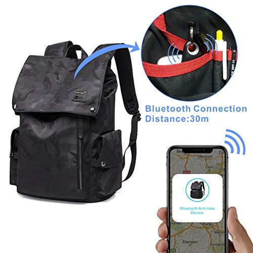 Laptop Outdoor Backpack, Travel Hiking& Camping Waterproof Pack with Bluetooth Anti-Loss Device, Casual Large College School Daypack, Shoulder Book Bags Back Fits 15'' Laptop & Tablets (Black Camo) by HiOrange (Image #4)