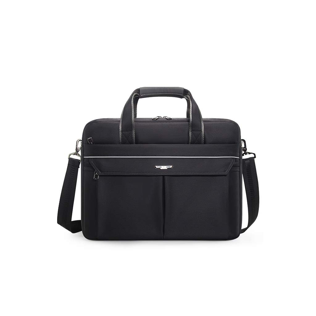 QSJY File Cabinets Laptop Bag 16 inch Waterproof Polyester Fashion Business Handbag Male 41×30×8CM (Color : Black, Size : 41×30×8CM) by QSJY File Cabinets