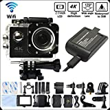 Cheap DITONG DT61 4K Ultra HD Action Camera Wifi 1080P 60fps 16MP/12MP 2.0 inch Waterproof Sports Video Camera Car Helmet Camcorder with 2pcs Batteries(Black)