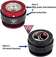 Kyostar Steering Wheel Quick Release Kit 100/% Real Carbon Fiber Hub Adapter Snap Off Boos Kit Universal Black