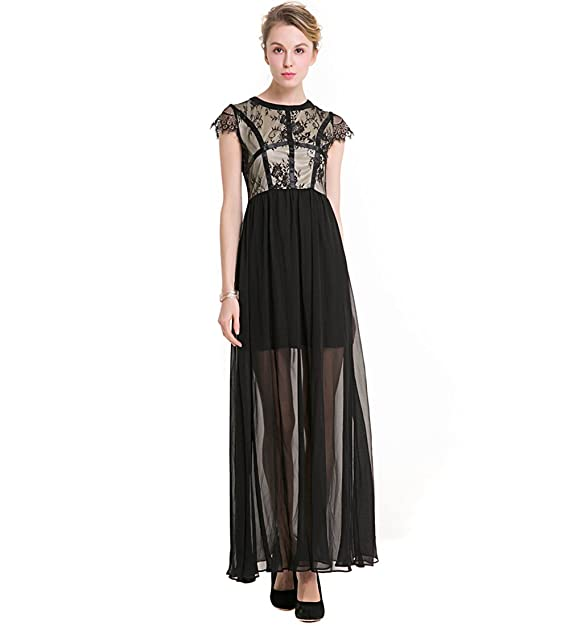KAXIDY Mujer Vestidos Encaje para Fiesta Larga Vestidos Cóctel Vestido De Noche Negro (Small)