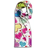 Hearts And Love Oblong Breathable Women Scarf Colorful For Wrap Girl Shawls