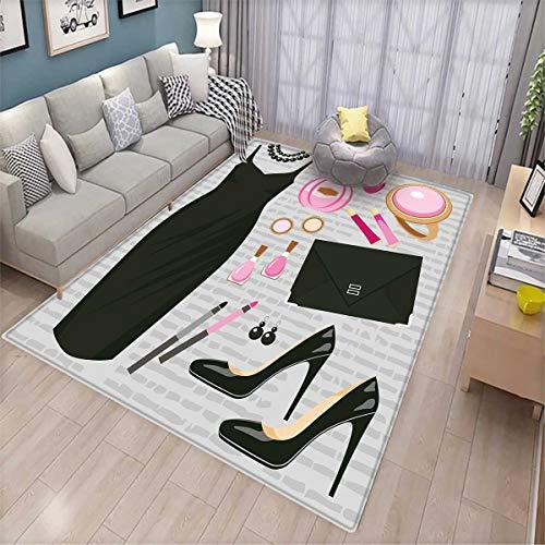 - Heels and Dresses Bath Mat 3D Digital Printing Mat Black Smart Cocktail Dress Perfume Make Up Clutch Bag Door Mat Increase Black Light Pink Light Brown