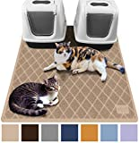 Gorilla Grip Original Premium Durable Multiple Cat Litter Mat (47x35), XL Jumbo, No Phthalate, Water Resistant, Traps Litter from Box and Cats, Scatter Control, Mats Soft on Kitty Paws (Beige)