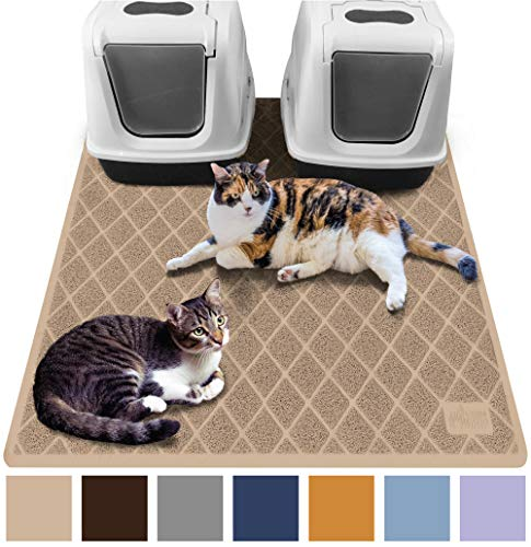 Gorilla Grip Original Premium Durable Multiple Cat Litter Mat (47x35), XL Jumbo, No Phthalate, Water Resistant, Traps Litter from Box and Cats, Scatter Control, Mats Soft on Kitty Paws (Beige) by Gorilla Grip