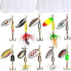 Tbuymax 10pcs high quality Holographic Spinner Lure kit comes with assorted bright colors and sizes.Life-like swimming actions are Irresistable to big Fish. Its classic blades shaped so as to spin like a propeller when the lure is in motion, ...