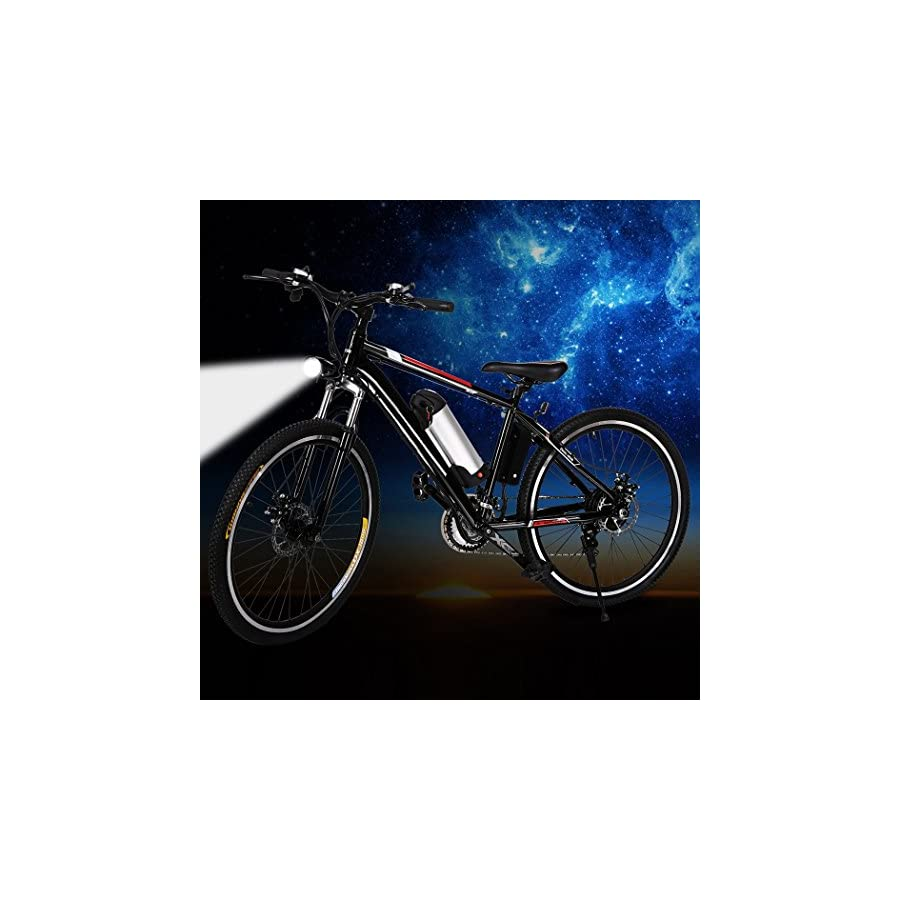 """Electric Mountain Bike, JQstar 25"""" Aluminum 21 Speed US Stock Power Plus Ebike with Lithium Ion Battery"""