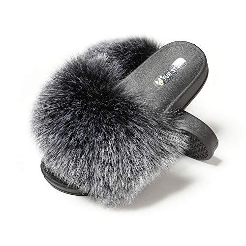 KS Womens Ladies Fluffy Sliders Flat Slippers Slip On Fur Flip Flops