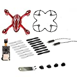 AFUNTA for Hubsan X4 H107C Quadcopter White / Red Spare Parts Crash Pack Includes One Body Shell + One HD Camera PCB Module (200W) + One Protection Cover + 4 Rubber Feet + 4 Spare Blades Set (16 pieces) +2pcs Motors + One U Wrench