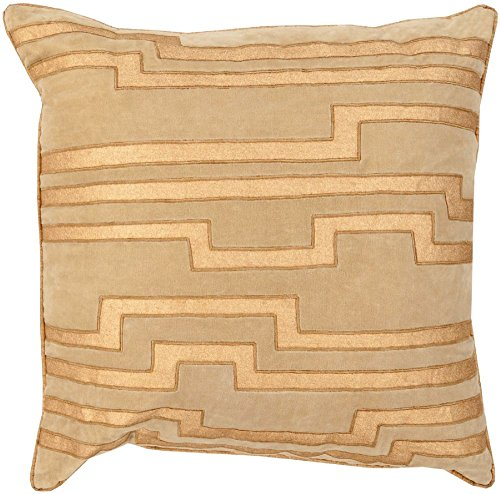 """Surya Contemporary Square pillow 20""""x20""""x5"""" (Down Filler) in Yellow-Neutral Color From Velocity Collection"""