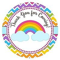 Rainbow Thank You Sticker Labels - Girl Children Birthday Baby Shower Party Supplies - Set of 30