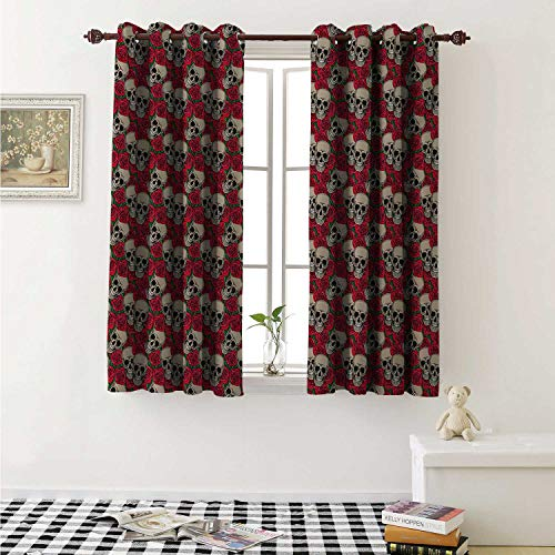 Rose Blackout Draperies for Bedroom Graphic Skulls and Red Rose Blossoms Halloween Inspired Retro Gothic Pattern Curtains Kitchen Valance W72 x L63 Inch Vermilion Tan -