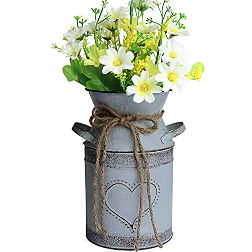 MISIXILE French Style Country Metal Shabby Chic vase, Rustic Galvanized Milk Can with Heart-Shaped for Home Decoration -7.5