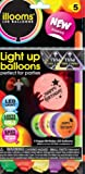 Illooms Printed Happy Birthday Light-Up LED Balloons, 5pk, Mixed Colors Last 15 Hours