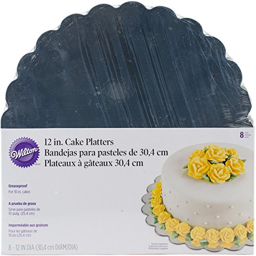 Wilton 12 Inch Silver Cake Platters, 8 Count ()