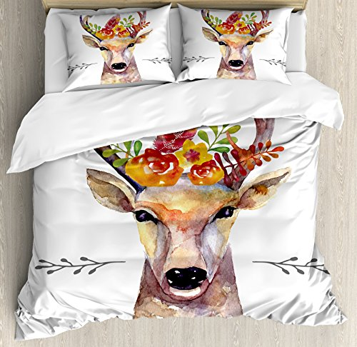 (Ambesonne Indie Duvet Cover Set Queen Size, Deer Portrait in Watercolor Painting Style Boho Flower Bouquet Hipster Rustic Artwork, Decorative 3 Piece Bedding Set with 2 Pillow Shams, Multicolor)